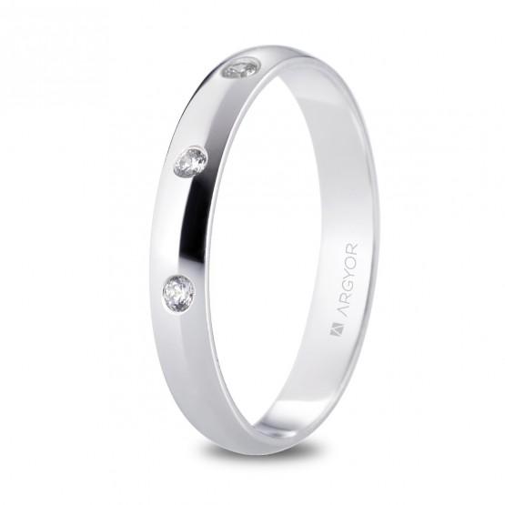 Alianza de platino media caña y 3 diamantes 3,5mm (05920135D3)
