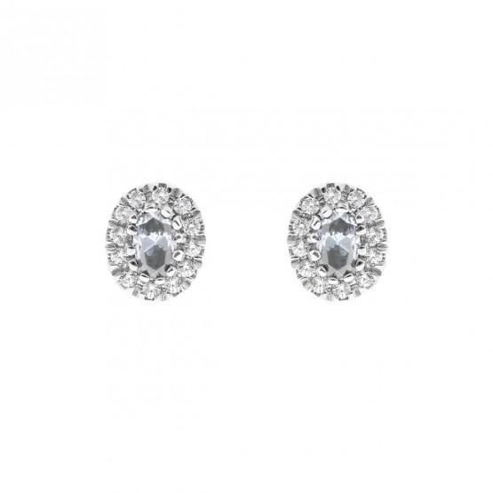 Pendientes oro blanco con aguamarina y halo de diamantes (0516004AQ)