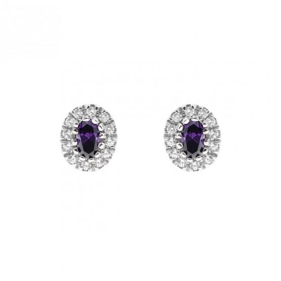 Pendientes oro blanco con amatista y halo de diamantes (0516004AM)