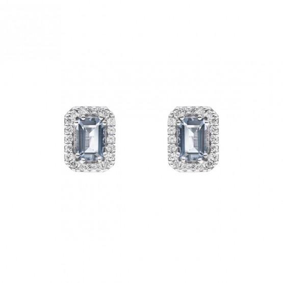 Pendientes oro blanco con aguamarina rectangular y halo de diamantes (0516006AQ)