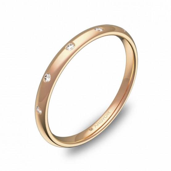 Alianza media caña 2mm oro rosa pulido con diamantes A0120P5BR