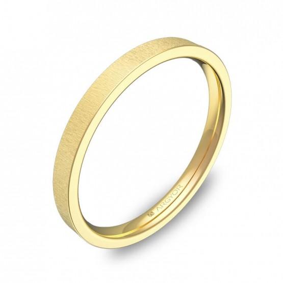 Alianza de boda plana gruesa 2mm en oro amarillo rayado B0120T00A