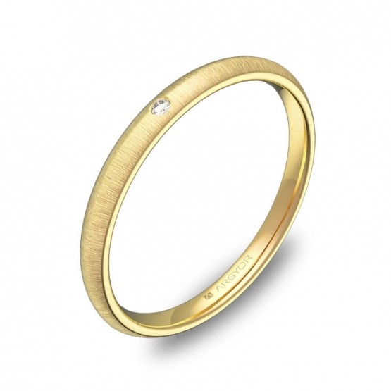 Alianza de 2mm de oro amarillo rayado con diamante A0120T1BA