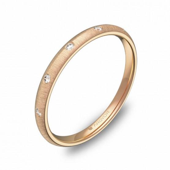 Alianza de media caña gruesa 2mm oro rosa con diamantes A0120T5BR