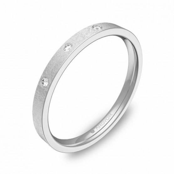 Alianza de boda de oro blanco hielo 2mm con diamantes B0120H3BB