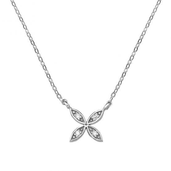 Collar de oro con flor 4 brillantes (76AGA006)