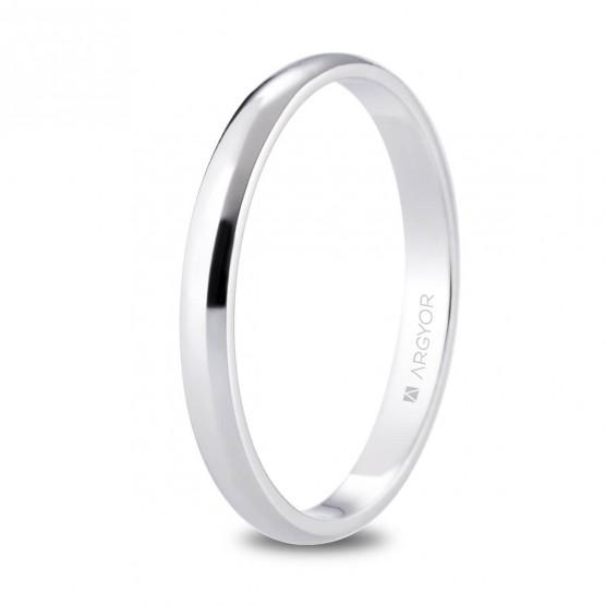 Alianza de platino media caña y brillo 2.5mm (05920125)