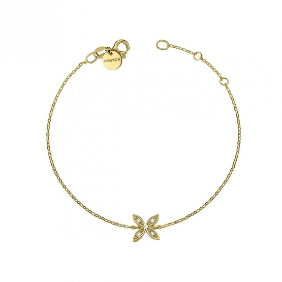 Pulsera oro 18k con flor y brillantes (76APU006)