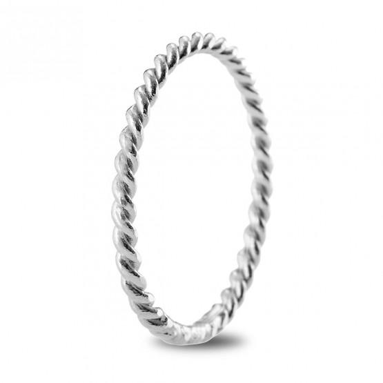 Anillo de matrimonio de oro blanco de diseño trenzado 2mm (5B20542)