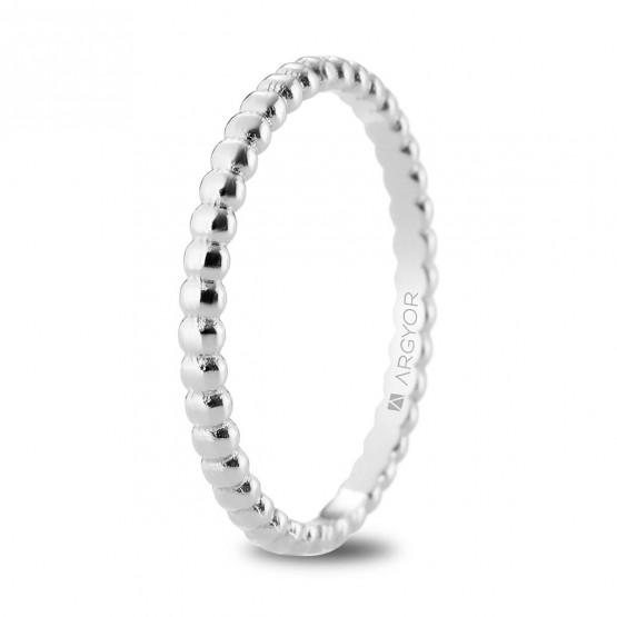 Alianza de boda en oro blanco 18k en forma perlada 2mm (5B20541)