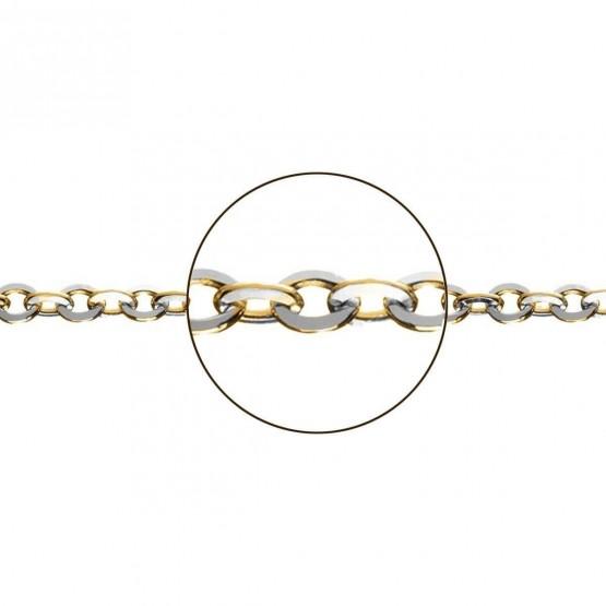 Cadena de oro bicolor 18k modelo rolo plana (066284040)