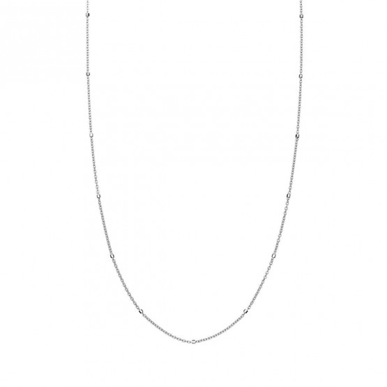 Collar oro blanco con tubitos (0410106B)