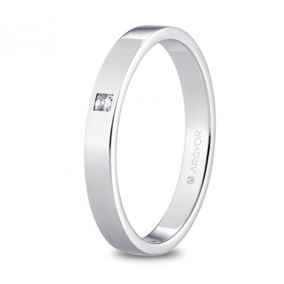 Alianza de platino plana y diamante princesa 3mm (05930130P)