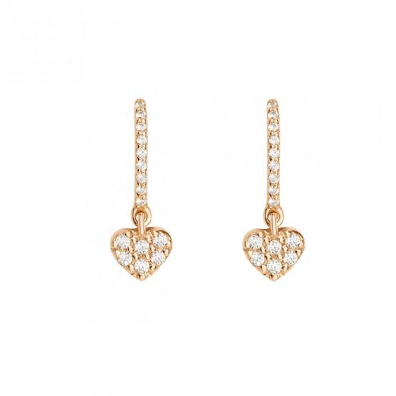 Pendientes de aro con estrella y brillantes de oro rosa (061R203) 1