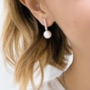 Pendientes de oro blanco con perlas y circonitas (75B0008Z)
