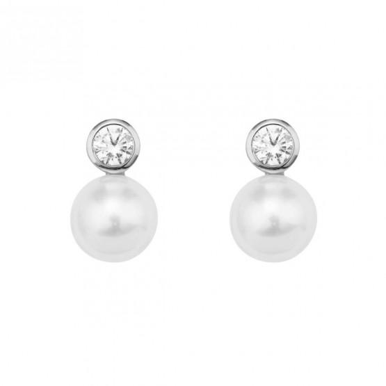 Pendientes de Diamantes y perlas en platino (75B0100P)