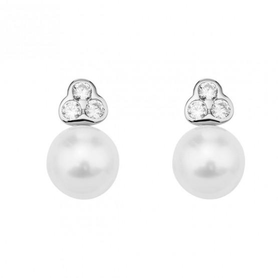 Pendientes de oro blanco con perlas y circonitas (75B0007Z)