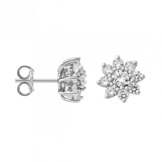 Pendientes de oro blanco con Diamantes en Flor (75B0105)