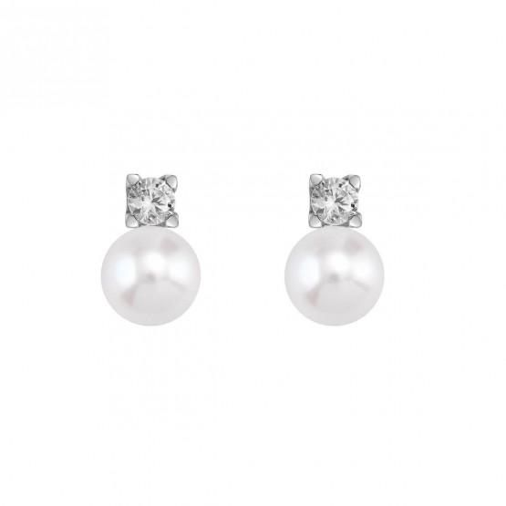 Pendientes blancos de Diamantes con perlas (75B0103P)