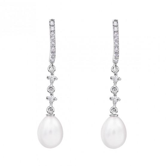 Pendientes de novia en oro blanco de18k y perlas ovaladas (79B0502TE1) 1