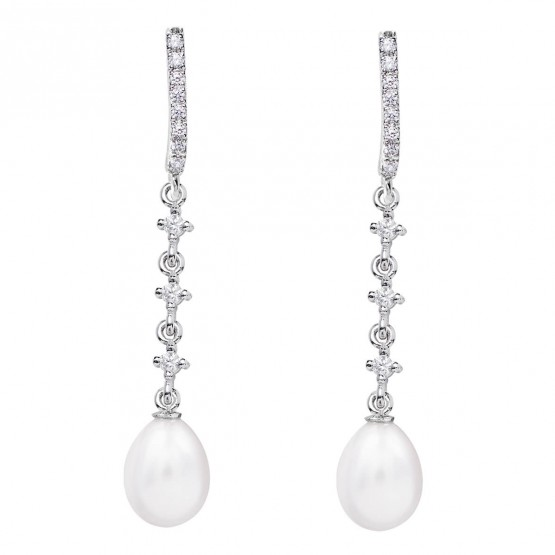 Pendientes para novia en oro blanco de18k y perlas (79B0503TE1) 1
