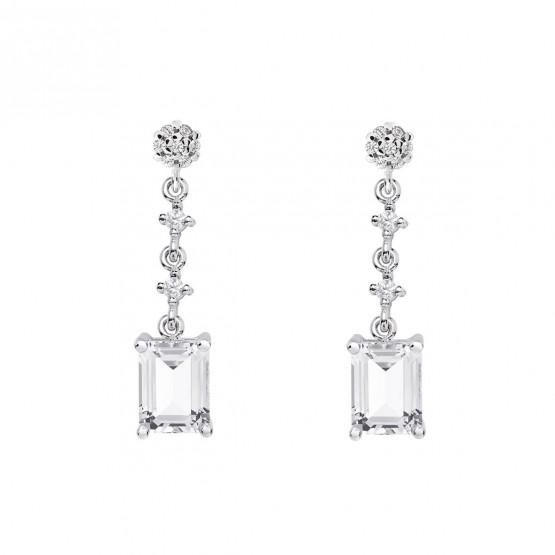Pendientes de plata para novias con topacio retangular (79B0602TB1) 1