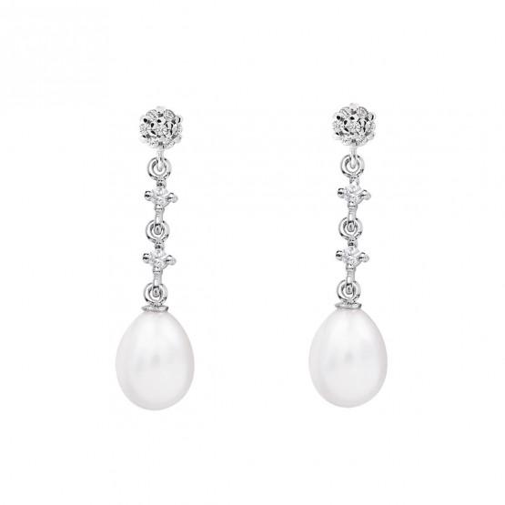 Pendientes de novia en oro blanco de18k y perlas (79B0602TE1) 1