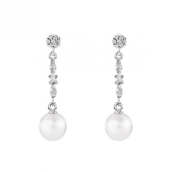 Pendientes de novia de oro blanco de18k con perlas (79B0605TD1) 1