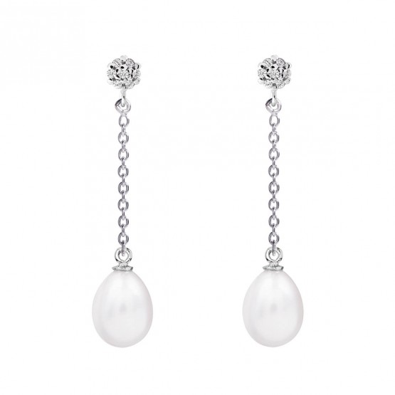 Pendientes de novia en plata y topacios con cadena (79B0607TE1) 1